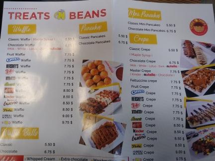 treats and beans menu